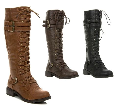 new s knee high lace up buckle combat boots