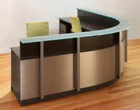 wrap around reception desk modern wood and glass