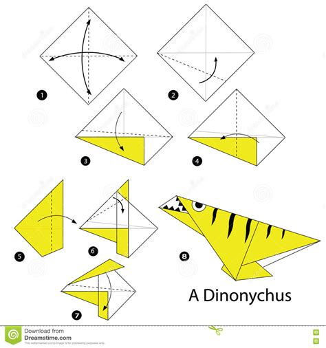 Origami Dinosaur Step By Step - step by step how to make an origami dinosaur