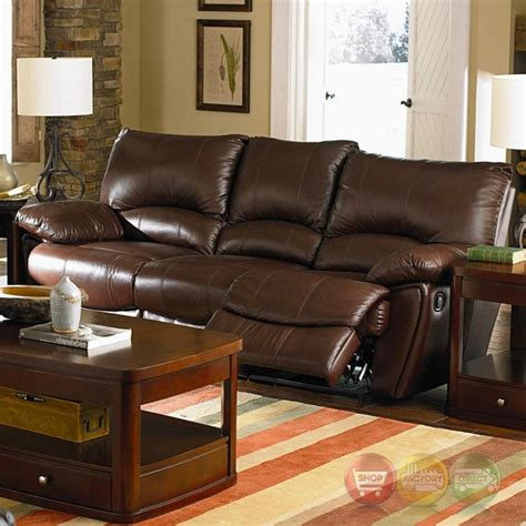 dual reclining leather sofa clifford dual reclining brown top grain leather