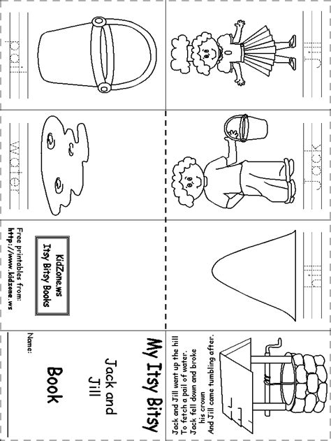 preschool coloring pages jack and jill itsy bitsy book jack and jill