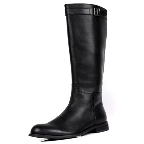 mens leather knee high boots large size mens knee high boots fashion black genuine