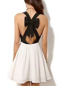 Black white two tone cutout bow back skater dress casual dresses