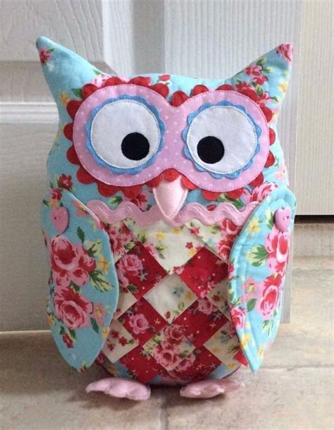 Patchwork Owls - patchwork quilting applique owl doorstop door hanger