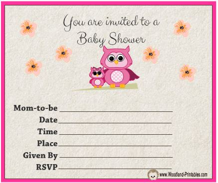 owl themed baby shower invitation template free printable owl baby shower invitations free printable