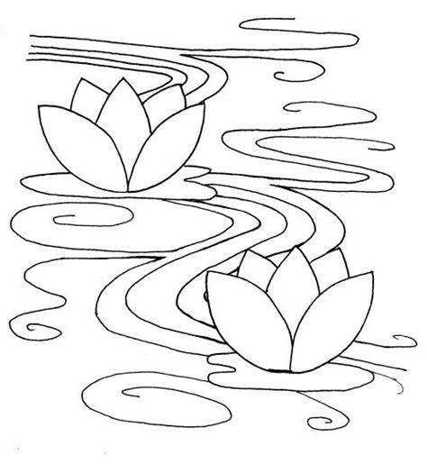 simple water lily coloring pages