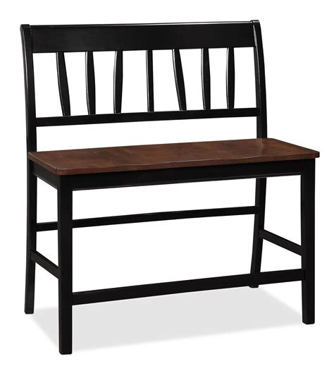 bench dining seat rustic black stained wooden dining bench with backrest and