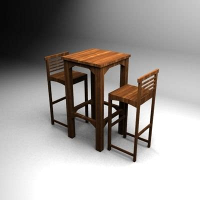 wood bar table and stools wood bar table chairs 3d max