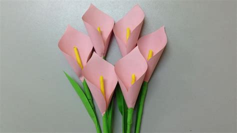 How To Make A Flower With Construction Paper - how to make calla paper flower easy origami flowers