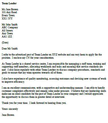 cover letter leadership position cover letter for a team leader icover org uk