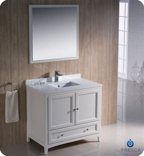 white traditional bathroom vanities fresca fvn2036aw oxford 36 inch antique white traditional
