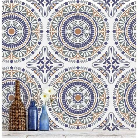 spending pattern in spanish tile stencil segovia allover trendy wall stencils for