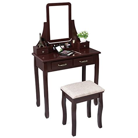 Vanity Set With Stool And Mirror by Songmics Vanity Makeup Table Set With Mirror And Stool Dressing Table