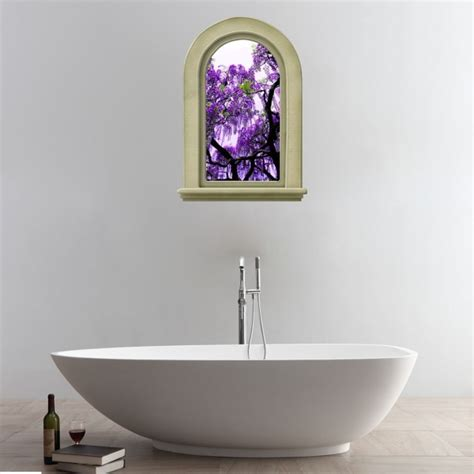 purple bathroom wall art 3d elegant purple flowers tree view removable bathroom