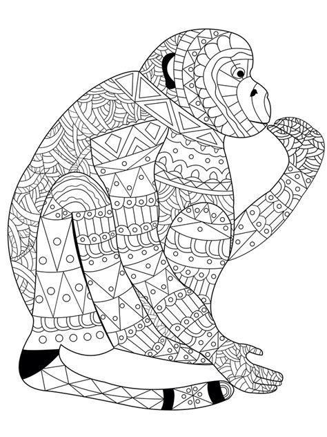 monkey coloring pages for adults monkey coloring book for adults vector illustration anti