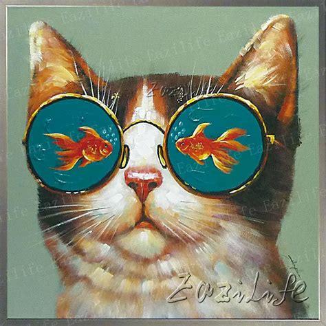 wohnzimmerwand kunst cat malerei auf leinwand wandbilder gem 228 lde f 252 r