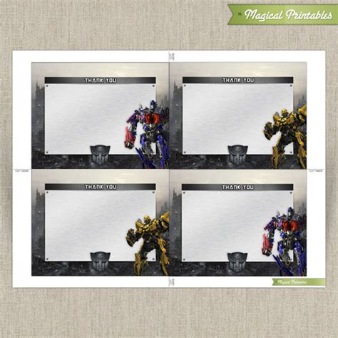 Printable Decepticon Id Card Template by Transformers Blank Birthday Thank You Cards