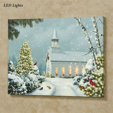 christmas church led lighted canvas wall art