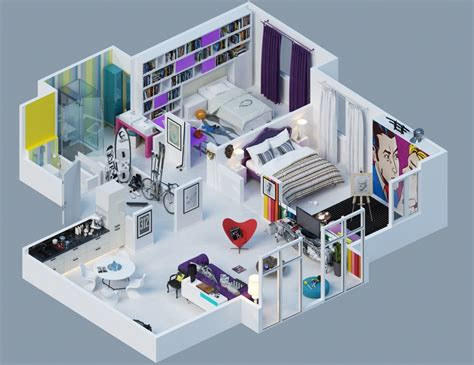 modern pop art style apartment 3d pop art apartment layout interior design ideas