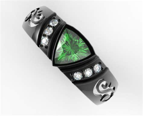 unique trillion cut emerald  diamond mens wedding band