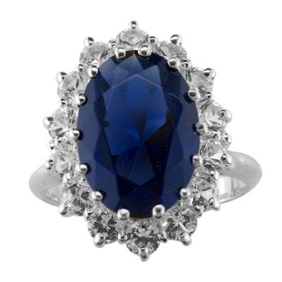 sterling silver sapphire ring decorate in blue