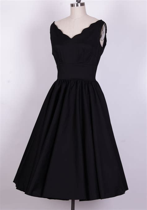 1950s style swing dress 1950 s style black cotton scallop swing dress 12629a