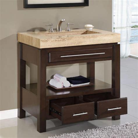 Bathroom vanity single sink cabinet dark walnut finish bathroom