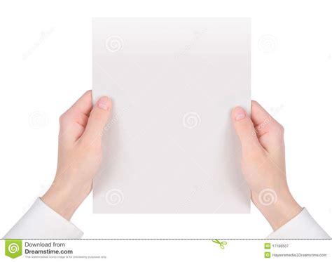 sle white paper holding white paper sheet stock image image 17186507
