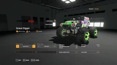 grave digger monster truck   farming simulator  farming simulator   mod fs