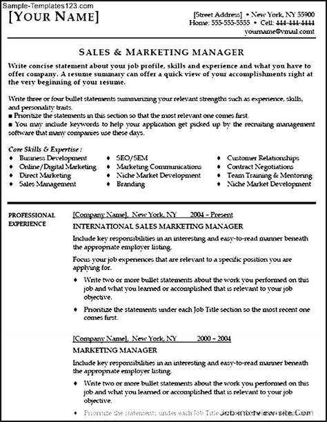 marketing manager resume objective sle templates