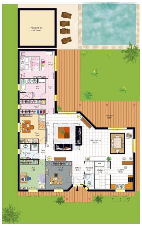 plan maison plein pied 4 chambres cuisine plan maison plein pied plan maison plein pied