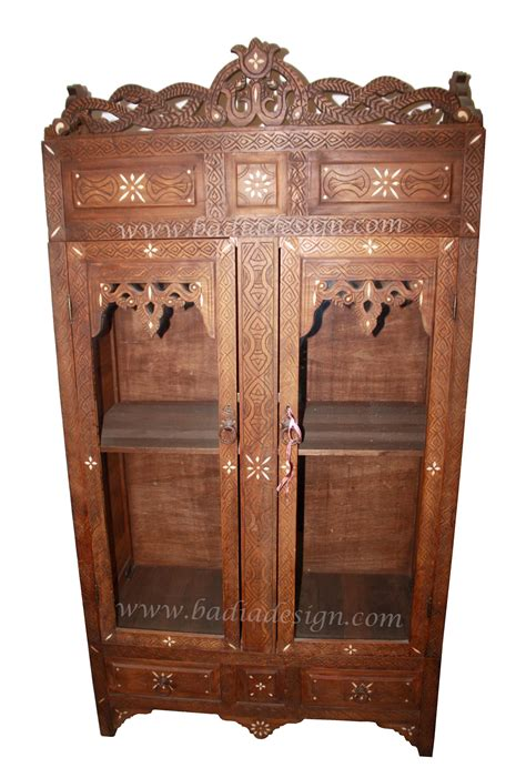 moroccan carved wood bone inlay armoire from badia design inc