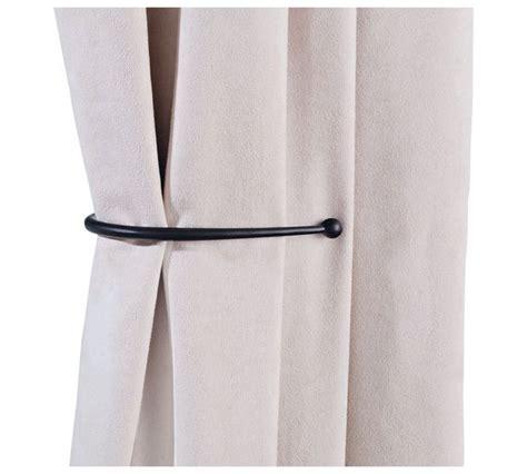 black curtain holdbacks buy home pair of j shaped curtain holdbacks black at