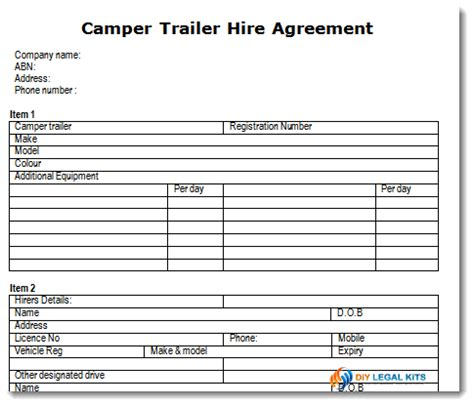 Cer Trailer Hire Or Rental Agreement Template Trailer Lease Agreement Template