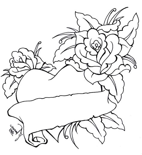 coloring pages of hearts and roses heart bow coloring pages coloring pages of roses and
