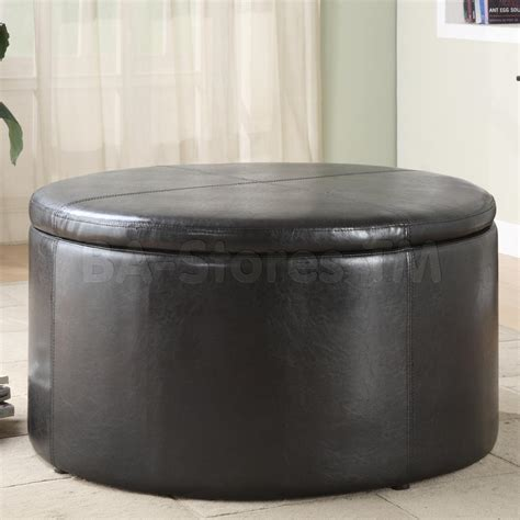 round leather storage ottoman maximizing small living room spaces using black color