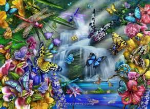 Japanese Garden Wall Murals butterfly waterfall wall mural wallpaper mural ideas 13451