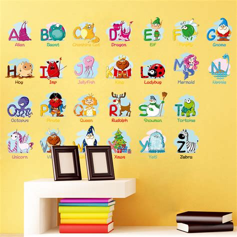 Alphabet Wall Decals For Nursery Diy Children S Nursery School Background Alphabet Wall Stickers Alex Nld