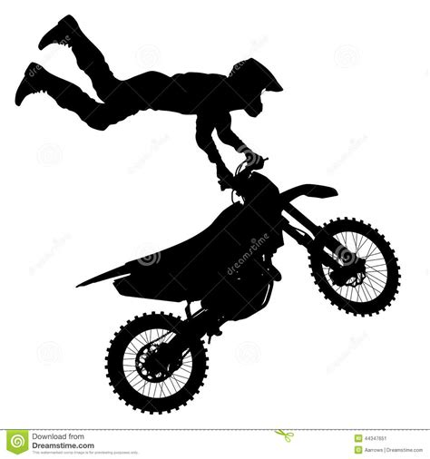 black motocross bike black silhouettes motocross rider motorcycle vector