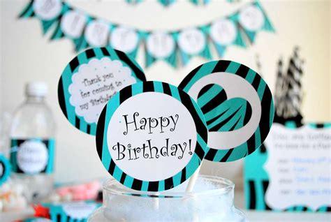turquoise and black zebra 13th birthday party birthday
