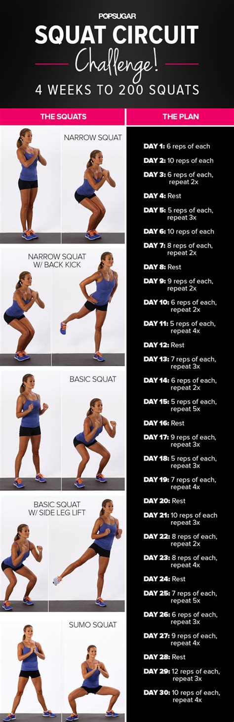 Printable squat challenge popsugar fitness