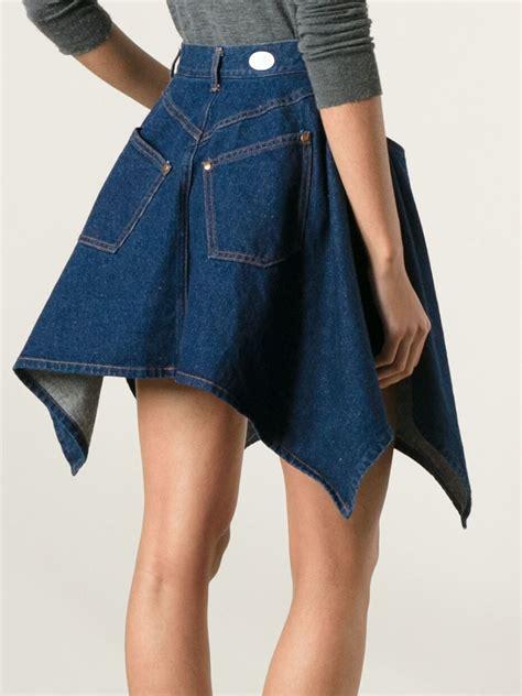 jean paul gaultier flared denim skirt in blue lyst