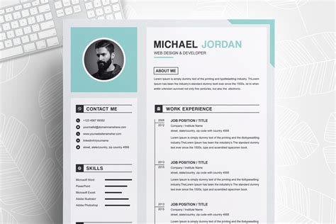 page clean professional resume design template