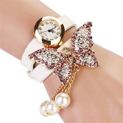 watch for girls beautiful collections beautiful and fahion girl faux pearls rhinestone butterfly