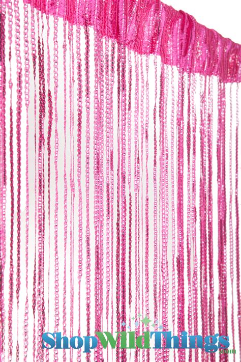 pink sparkle curtains hot pink string curtain with silver thread and tension rod