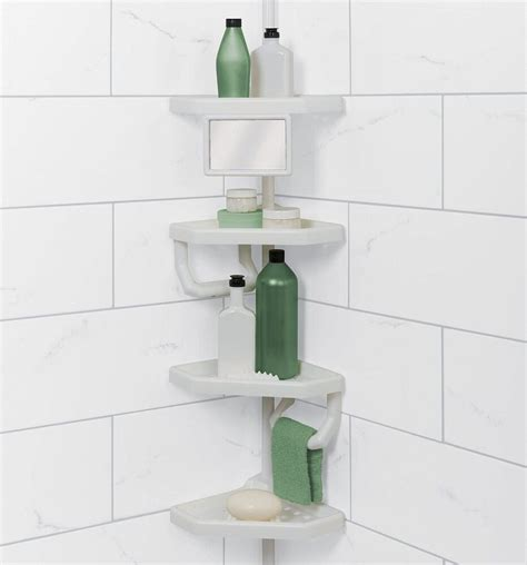 Shower Pole Shelf by Corner Tension Pole Shower Shelf Storage Caddy Rack Holder