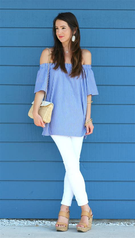 Striped On Shoulder Top casual striped the shoulder top from banana republic