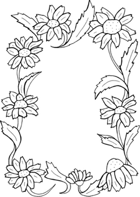 coloring pages of flower borders floral border clipart