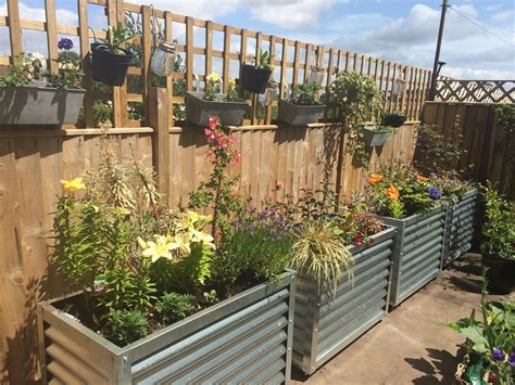Metal Garden Planters Corrugated Metal Garden Planter Raised Flower Bed
