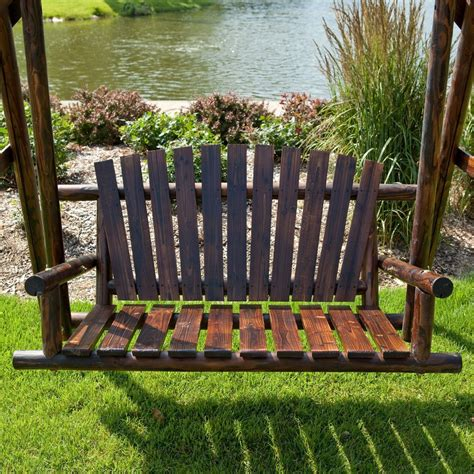 outdoor log bench wood porch swing bench deck yard outdoor garden patio